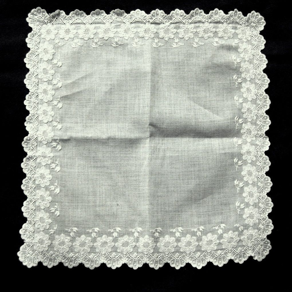 Embroidered White Work Wedding Hanky