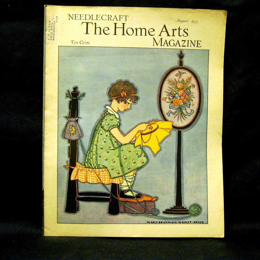 1935 Needlecraft Home Arts Magazine Deco Cover From