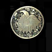 Aztec Man / Bird Headdress Silver Pendant / Pin