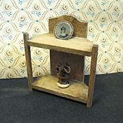 Primitive Doll Furniture, Rustic Dish Dresser, Accessories