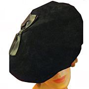 Designer Hattie Carnegie Black Velvet Hat