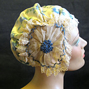 Flapper's Fancy Trimmed Silk Boudoir Cap