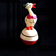 German Celluloid Gentleman Duck Roly Poly Toy