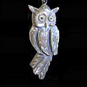Mr. Abalone Owl, Hand Carved Vintage Pendant