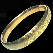 Victorian Rolled Gold Bangle Bracelet, Stippled Finish