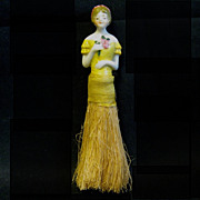 Porcelain Art Deco Half Doll Hat or Vanity Brush