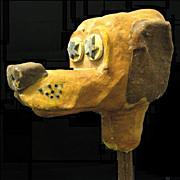 Large folk Art Hound Dog Puppet Head