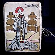 Handmade Art Nouveau Lady  Early Needle Case