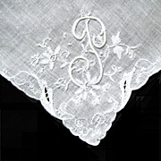 Fancy Initial, Cut Work on White Linen Hanky