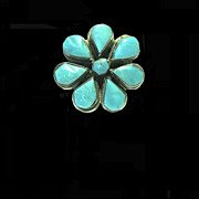 Native American Hand Made Turquoise and Silver Flower Ring