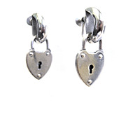 Dangling Heart Lock Screw Back Earrings