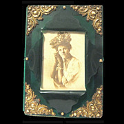 Victorian Bottle Green Celluloid Picture Frame, Brass Corners