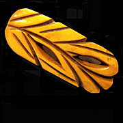 Carved Stylized Leaf Butterscotch Bakelite Brooch or Pin