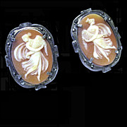 Carved Shell Cameo Earrings, Sterling, Demeter, Goddess of the Harvest