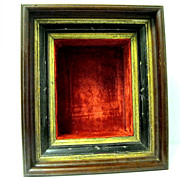 Victorian Walnut ShadowBox Frame with Red Velvet Liner