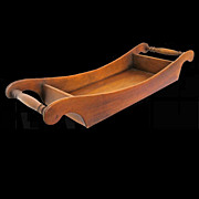 Sleigh Shaped Vintage Wood Serving Tray with Turned Handles