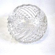 Scarce EAPG Miniature Rose Bowl 'Diamond Swirl', US Glass, 1895