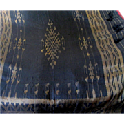 "Vintage 50"" Square Fringed Black Silk Woven shawl, Gold Thread"