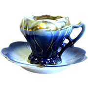Miniature R.S. Prussia Flow Blue cup/Saucer