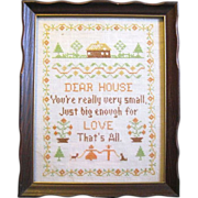 Framed Hand Made Linen Sampler from the 1940s