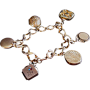 Gold filled Victorian Bracelet with Fobs, Locket Charms