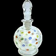 Bulbous Czech Perfume, Hand Enameled Daisies