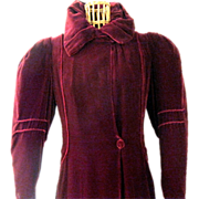 Deep Garnet Velvet Opera Coat from the Edwardian Era