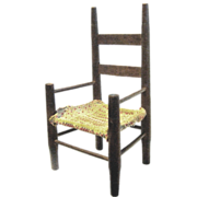 Primitive 19th Century Ladder Back Arm Chair for Doll