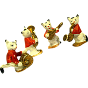 "Quartet of Porcelain Bisque Cat Musicians, marked ""Germany"""