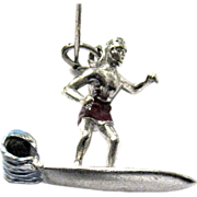 Sterling and Enamel Charm, Male Surfer on Wave Washed Board
