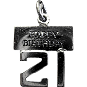 Wells Sterling Silver Charm, Happy 21 Birthday""