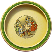 Jack Horner Eats Christmas Pie on Vintage Roseville Baby Bowl