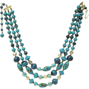 Triple Strand Turquoise Colored Fancy Glass Beaded Necklace