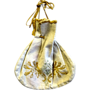 1906 Hand Embroidered Drawstring Linen Purse, Arts & Crafts Movement