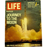 "1969 Jigsaw Puzzle, ""Apollo-Saturn Rocket LIfts off from Cape Kennedy"", a Life Puzzle"