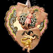 1900's Parchment Valentine, Scrap Angels