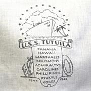 WW II Souvenir Hanky, USS Tutuila