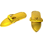 Pair of Brushed Gold Metal Buckle Dress Clips, ca. 1932