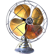 Emerson Electric Oscillating Table Fan with Brass Blades, ca. 1925 - Red Tag Sale Item