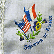 Silk WW I Hanky, Souvenir de France