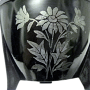 Art Deco Black Glass Flower Pot, Greek key
