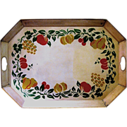 Large Octagonal Stenciled Tole Serving Tray, 1950s