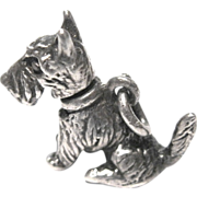 Heavy Silver Scotty Dog Mechanical Charm, Head Swivels, 1940s