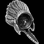 Vintage Native American War Bonnet Silver Charm
