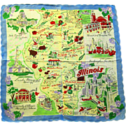 "State of Illinois Handkerchief, 13"" Square"