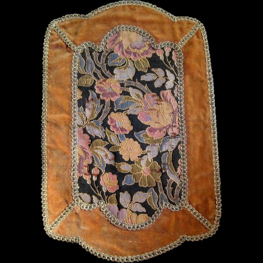 vintage velvet brocade and metallic braid vanity scarf