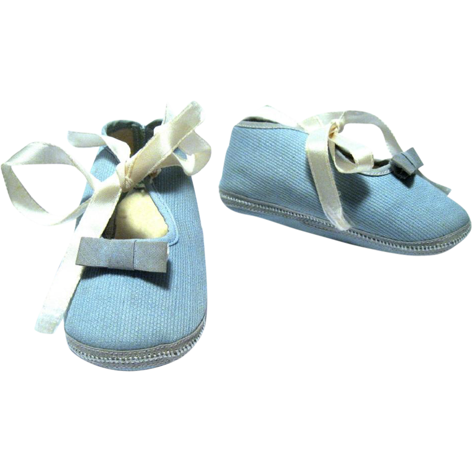 1950 S Mrs Day S Ideal Baby Or Doll Shoes Light Blue