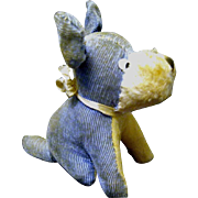 1930 Small Blue Corduroy Perky Puppy Stuffed Toy