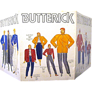 Tri-fold Cardboard Display of 1980s Butterick Designer Patterns