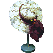 White Straw Wide Brim Doll Hat with Maroon Chiffon Band/Trim
